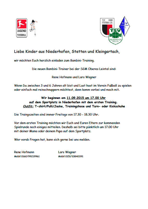 TSV Niederhofen 1922 e.V. - Einladung zum Bambini-Training